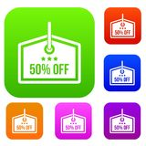 Sale tag 50 percent off set collection. Sale tag 50 percent off set icon in different colors isolated vector illustration. Premium collection Royalty Free Stock Image