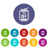 Sale tag 75 percent off set icons Royalty Free Stock Image