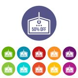 Sale tag 50 percent off set icons Royalty Free Stock Photo