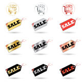 Sale tag. Sale Price tags and labels Sale discount set. Colorful price tags and shopping basket icons isolated on white background. Vector Sale tag. Advertising Stock Images