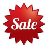 Sale tag. Red sticker. Icon for special offer. Stock Image
