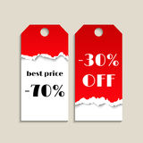 Sale tag with red torn paper texture Royalty Free Stock Image
