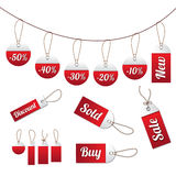 Sale tag set. Set of modern red sale tags. Blanks included Stock Image