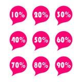 Sale tag set 10, 20,30,50,60,70,80,90 percent. Sale tag set. Sale percent tag Vector illustration on white background vector illustration