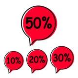 Sale tag set 10, 20,30,50 percent. Sale tag set. Sale percent tag Vector illustration on white background stock illustration