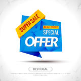 Sale Tag special price Paper Origami style banner. Promotional marketing and special offer price for markets, stores and Royalty Free Stock Photo