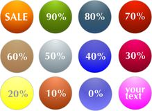 Sale tag stickers with discount Royalty Free Stock Photo