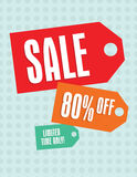 Sale tag. S sign with 80 percent off tag vector illustration