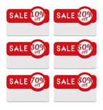 Sale Tag Template Featuring Various Discount Percentage. Template to create discount and sale tags. 10, 20, 30, 50, 70 and 80 percent off collection. Perfect to Stock Images