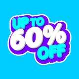 Sale tag,up to 60% off, isolated sticker, poster design template, discount banner, vector illustration. Sale tag, up to 60% off, isolated sticker, poster design royalty free illustration