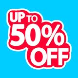 Sale tag, up to 50% off, isolated sticker, poster design template, discount banner, vector illustration. Sale tag, up to 50% off, isolated sticker, poster design stock illustration