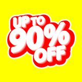 Sale tag, up to 90% off, isolated sticker, poster design template, discount banner, vector illustration. Sale tag, up to 90% off, isolated sticker, poster design vector illustration