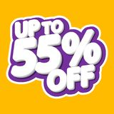 Sale tag, up to 55% off, isolated sticker, poster design template, discount banner, vector illustration. Sale tag, up to 55% off, isolated sticker, poster design vector illustration