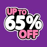 Sale tag, up to 65% off, isolated sticker, poster design template, discount banner, vector illustration. Sale tag, up to 65% off, isolated sticker, poster design stock illustration