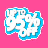 Sale tag, up to 95% off, isolated sticker, poster design template, discount banner, vector illustration. Sale tag, up to 95% off, isolated sticker, poster design stock illustration