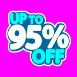 Sale tag, up to 95% off, isolated sticker, poster design template, discount banner, vector illustration. Sale tag, up to 95% off, isolated sticker, poster design royalty free illustration