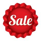 Sale tag. Vector red round star sticker. Stock Photo