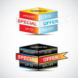 Sale tag. This weekend special offer banner, up to 85% off. Vector illustration Royalty Free Stock Image