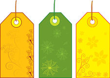 Sale tags. With floral designs stock illustration