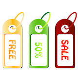 Sale tags. Various colored sale tags vector illustration Royalty Free Stock Photography
