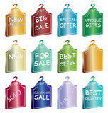Sale tags. Illustration of sale tags on white background Stock Photos