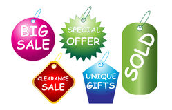Sale tags. Illustration of sale tags on white background Stock Photography