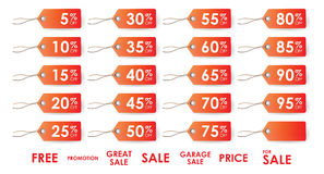Sale tags. Various sale tags varying in percentage discounts Stock Photography