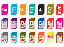 Sale tags. Various sale tags varying in percentage discounts and colors Stock Images
