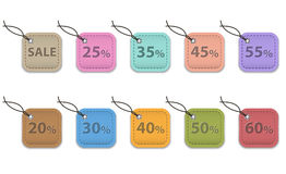Sale tags. Colorful leather labels for shopping. Sale tags stock illustration