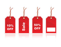 Sale Tags. Shiny red Sale tag with 10%OFF , 50%OFF , and sale tag royalty free illustration