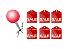 Sale Tags. End of summer, back to school Sale tags & push pin with clipping path stock illustration