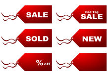 Sale tags. Red and white sale shopping tags Royalty Free Stock Photo