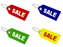 Sale tags. In four different colors: red, blue, green, and yellow; 3d render Stock Photos