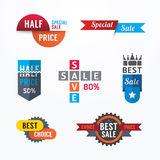 Sale tags banners vector set. Design concept for mobile shopping Royalty Free Stock Photography