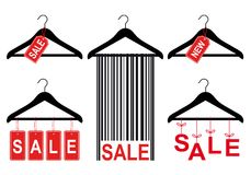 Sale tags on clothes hanger, vector set Stock Photos