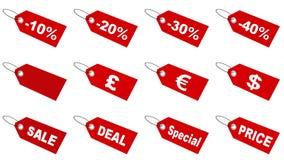 Sale tags collection. Red sale tags collection; 3d render Royalty Free Stock Photos