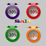 Sale tags. Colorful sale tags with percents for web Royalty Free Stock Image