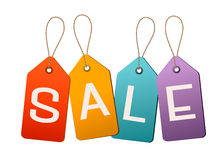 Sale tags. Concept of discount shopping. Stock Photo
