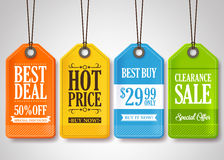 Sale Tags Design Collection Hanging with Different Colors. For Store Promotions in White Background. Vector Illustration Stock Images