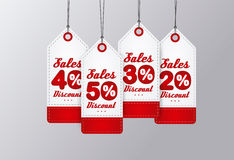 Sale Tags Design. Red vintage style. Vector illustration Stock Images