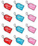 Sale tags for discount promotions Stock Photo