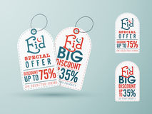 Sale tags for Eid festival celebration. Stock Photo