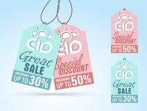 Sale tags for Eid Mubarak celebration. Stock Image