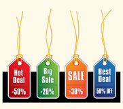 Sale tags with gold strings vector illustration