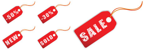 Sale tags grunge Stock Image