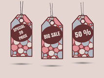 Sale tags with hand drawn doodle pattern Royalty Free Stock Photos