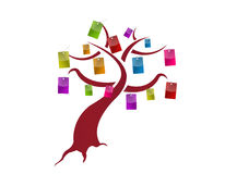 Sale tags hanging from a tree illustration Stock Image