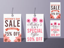 Sale tags for Happy Mothers Day celebration. Stock Photos