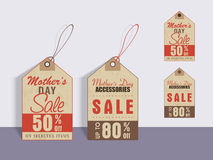 Sale tags for Happy Mothers Day celebration. Happy Mothers Day celebration sale tags with different discount offer Stock Photos