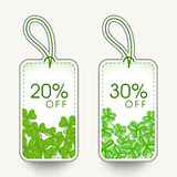 Sale tags for Happy St. Patricks Day celebration. Royalty Free Stock Photo